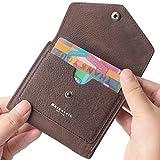 Borgasets Women's RFID Blocking Small Compact Bifold Leather Pocket Wallet Ladies Mini Purse (Nubuck Coffee)
