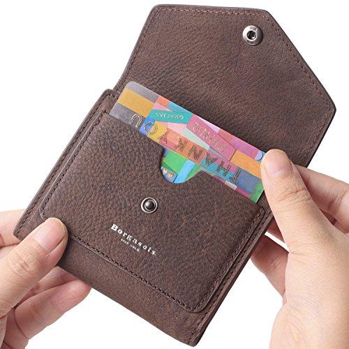 Borgasets Women's RFID Blocking Small Compact Bifold Leather Pocket Wallet Ladies Mini Purse (Nubuck Coffee) by Borgasets