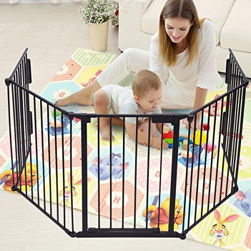 "JAXPETY 25""x 30"" 5 Panel Baby Safety Fence Hearth Gate BBQ Fire Gate Fireplace Metal Plastic Pet Dog Cat Black"