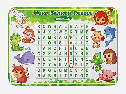 Word Search Puzzle Bath Mat, Educational Game for Kids Children Cute Sweet Animals Worksheet Print, Plush Bathroom Decor Mat with Non Slip Backing, 31.5 X 19.7 Inches, -