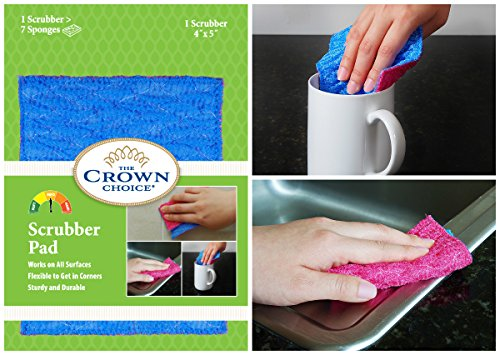 ODOR FREE Scrubbing Pad (1Pk) for Dishwashing and Cleaning | Strong & Scratch Free Scrubber | VERY Durable and Tough Scrub Sponge | No Mildew Smell from Sponges, Dishcloth, Cotton - Of Get Marks Rid Scratch