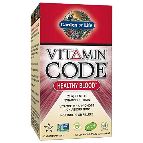 Garden of Life Iron Supplement - Vitamin Code Healthy Blood Raw Whole Food Vitamin, Vegan, 60 (Garden Of Life Raw Iron)