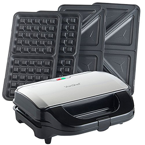 VonShef 220 240 Volts 2 in 1 Deep Filled Sandwich and Waffle Maker with Removable Plates - 800W - Stainless Steel | Bundled W/Dynastar Plug Adapters | 220v 240v (NOT FOR USA)