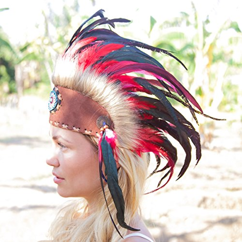Chief Indian Headdress Costume (Novum Crafts Feather Headdress | Native American Indian Inspired | Red)