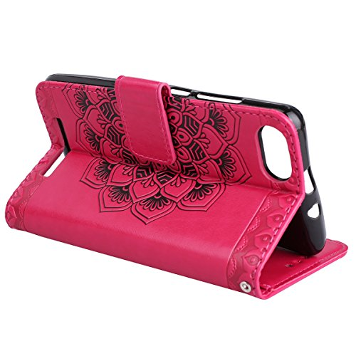 EUWLY Leather Case for Wiko Lenny 3,Wiko Lenny 3 Leather Wallet Case, Sunflower Embossed Ultra Slim Leather Case with Magnetic Closure And Lanyard Anti-scratch Anti-Shock Card Slots and a Hidden Money Rose Red