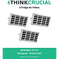 3-pack Refrigerator Air Filters fits Whirlpool Air1 Fresh Flow Compare to Part # W10311524, 2319308 & W10335147, Designed & Engineered by Crucial Air