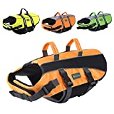 Wellver Dog Life Jacket, Pet Life Saver Swimsuit Preserver Training Vest for Swimming(NO Reflective Strip),Bright Orange,Xlarge