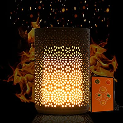 Portable Dancing Flame Table Lamp LED Home Decor, Vintage Romantic Flickering Flameless Decoration, Water-resistant, Built in Rechargeable Battery + Magnetic Base, Votive Candle-like Flame Bulb Effect