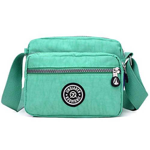 Outreo Bolsos de Mujer Bolso Bandolera Ligero Bolsas de Deporte Impermeable Moda Bolsos Casual Pequeña para Escuela Bolsas de Viaje Verde