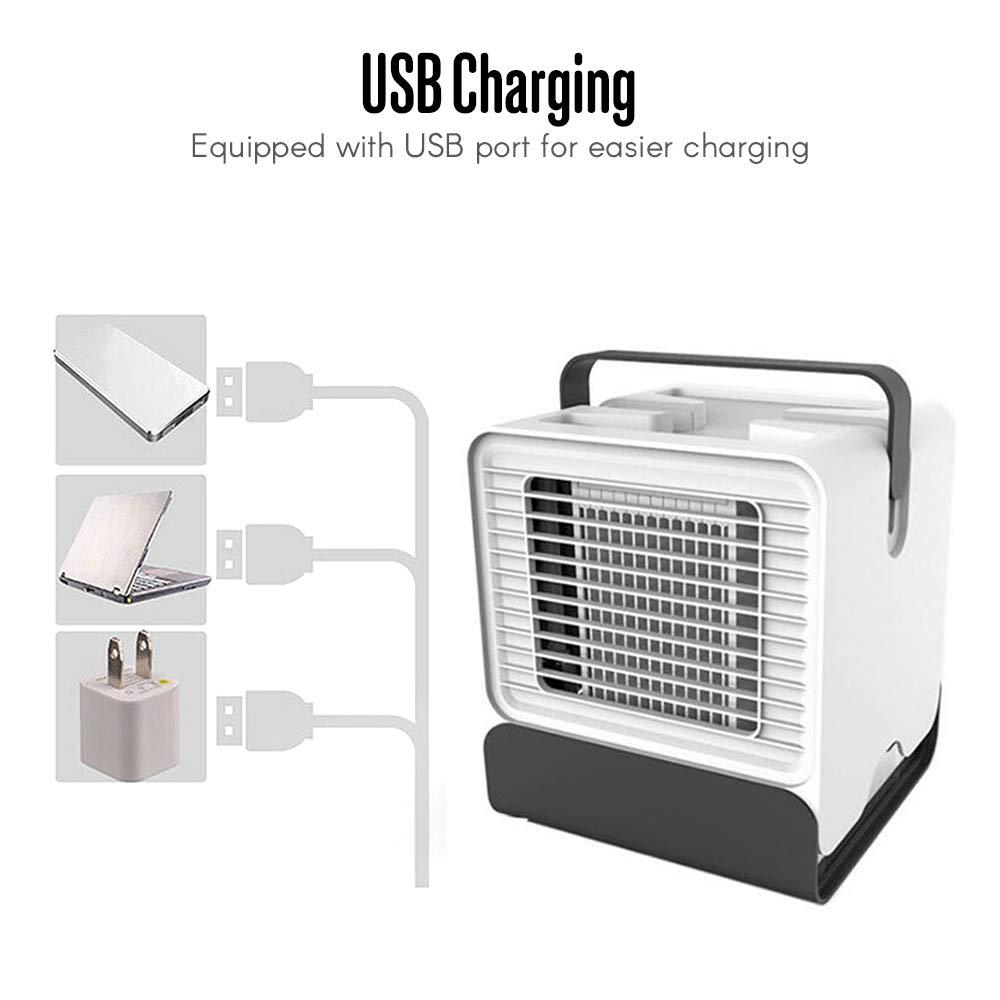KKmoon USB Mini Climatiseur Ventilateur Arctic Air Ultra Compact Portable Air Cooler Mini Climatiseur LED Veilleuse Noir