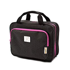 Travel Junkie 51B9tpt2U1L._SS247_ Large Travel Cosmetic Bag For Women - Hanging Travel Toiletry And Makeup Bag With Many Pockets in Polka Dot