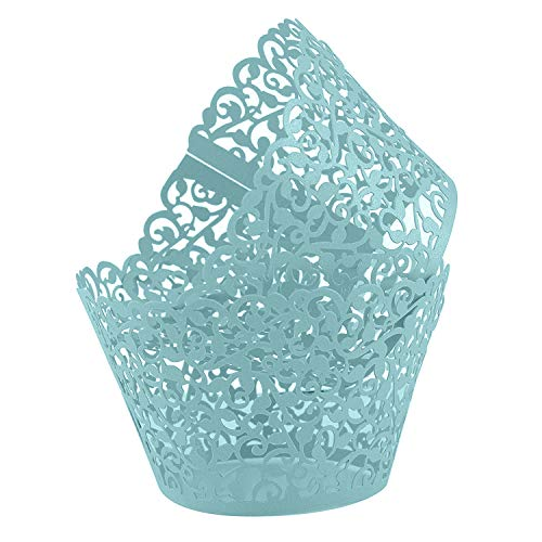 Blue Cupcake Wrappers 100pcs/pack Lace Cupcake Liners Laser cut Cupcake Papers cupcake cups Muffin cups for Wedding/Birthday Party Decoration