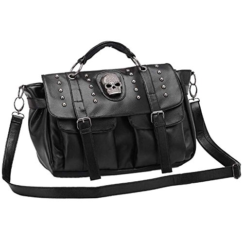 Women's Black Skull Diamante Handbag Crossbody Satchel Bag
