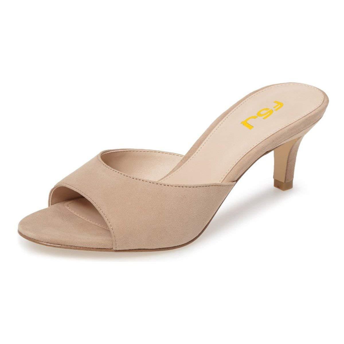 FSJ Women Comfort Low Heel Mules Peep Toe Suede Sandals Slip On Dress Pump  Shoes Size 9 Beige-6cm 11601eaa73fa