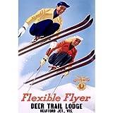 1954 Deer Lodge Flexible Flyer Ski 25''x34'' Planked Wood Sign Wall Decor Art