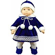 """The Queen's Treasures 15"""" Complete Doll Clothes for American Girl Bitty Baby Bitty Twins, Blue Velvet Dress, Hat, Tights, Shoes. Packaged with Reusable Plastic Hanger"""
