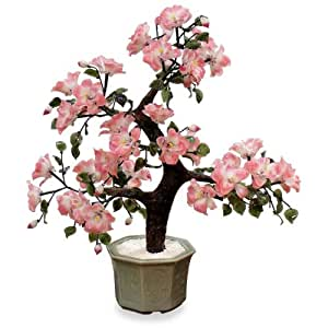 Glass Bonsai Flower Tree with Celadon Ceramic Pot