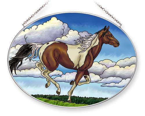 Stained Glass Suncatcher 9 X 6.5 Oval Painted Sky Horse by Stain Glass Panel (Image #1)