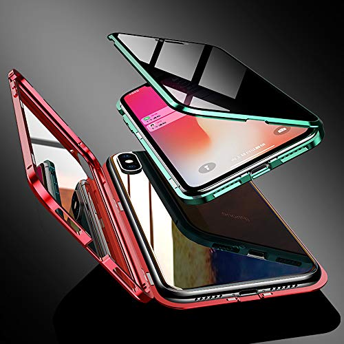 Anti-Spy Case for iPhone Xs/X (5.8 inch), Jonwelsy 360 Degree Front and Back Privacy Tempered Glass Cover, Anti Peeping Screen, Magnetic Adsorption Metal Bumper for iPhone Xs/X (Green)