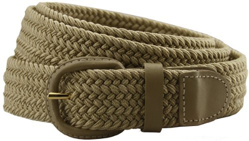 Woven Elastic Belt (Belts.com Leather Covered Buckle Woven Elastic Stretch Belt, Brown,)
