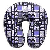 Mortimer Gilbert Blue Gaming Pattern Super Soft U-Shape Memory Travel Neck Pillow