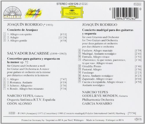 Rodrigo: Concierto de Aranjuez; Concierto madrigal / Bacarisse: Concertino: Narciso Yepes: Amazon.es: Música