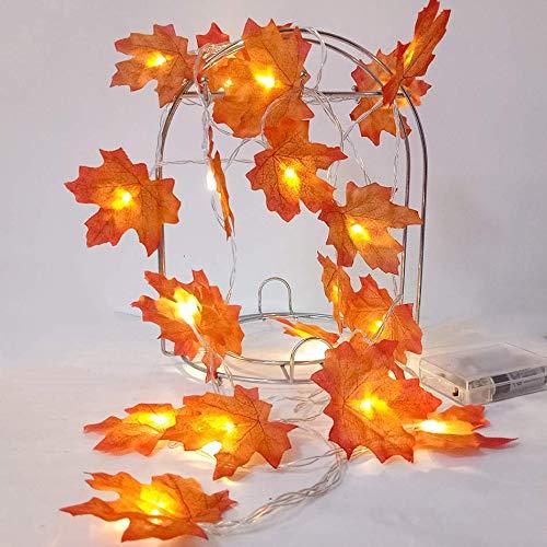 (YURROAD 2 Pack - 9.8FT 30 Led Thanksgiving Harvest Fall Garlands String Lights Maple Leaf String Lights Faux Orange Harvest Lights Decor Halloween String Lights Fall Maple Leaves Garland)