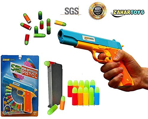 ZAHAR Toys Realistic Colt 1911 Toy Gun with 10 Colorful Soft Bullets, Ejecting Magazine , Slide Action for Training or Play -