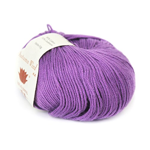 Lotus Yarns Wholesale 10X50g Autumn Wind 90% Cotton 10% Cashmere Fingering Weight Hand Knitting/Crochet Yarn 10X50g Balls for Fashion Garments Baby Clothes ... (22-Purple) ()