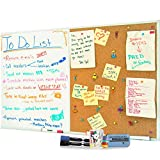 48 x 36 White Board and Cork Board Combination, Large Magnetic Bulletin Combo Board for Home or Office, Versatile Wall Mounted Dry Erase Message or Memo Board - 2 Markers, Eraser, Push Pins Included