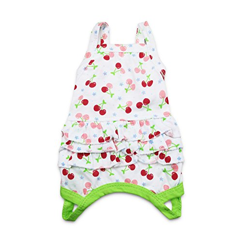 DroolingDog Dog Girl Clothes Pet Girl Shirt Lovely Green Dress Puppy Cat Apparel for Small Dogs Girls, Medium (Cherry Dog Tank)