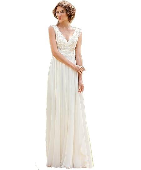 CoCoGirls Bridal Chiffon V Neck Cap Sleeve Dress Bohemian Beach Wedding Gown US 2