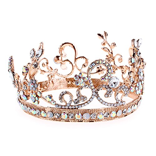 [Crazy Genie Bridal Crystal Tiara Crowns Princess Queen Pageant Prom Rhinestone Headband Wedding Hair Accessory (Colorful] (Crowns For Queens)