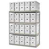 Record Storage Rack With 80 Boxes, 72''W x 30''D x 84''H, Gray