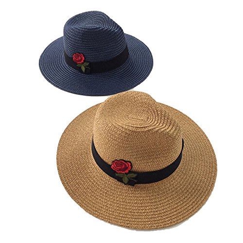 - Rose Straw Visor Wild Travel Beach Hat Sun Hats Tide,Beige