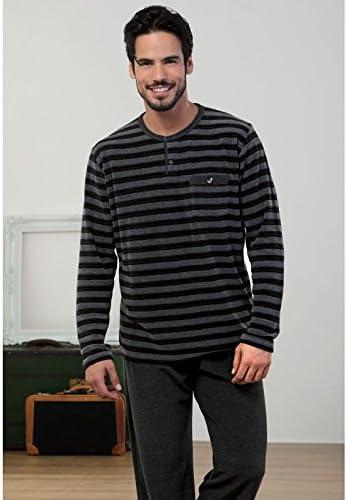 MASSANA - Pijama Hombre de Terciopelo Invierno M-3XL - Negro ...