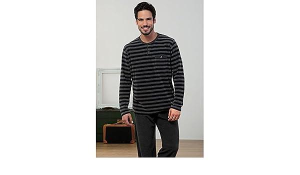 MASSANA - Pijama Hombre de Terciopelo Invierno M-3XL - Negro, XL: Amazon.es: Ropa y accesorios