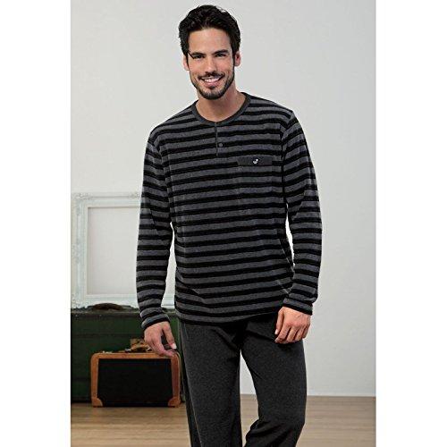 MASSANA - Pijama Hombre de Terciopelo Invierno M-3XL - Negro, XL