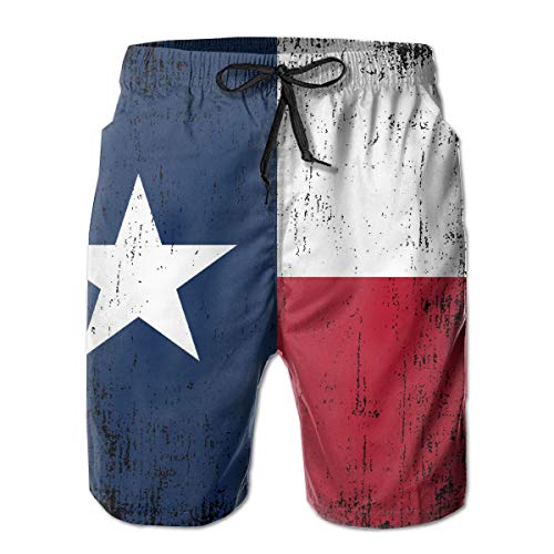 (YongColer Mens Cargo Short, Big & Tall Half Pants, Summer Loose Basic Board Shorts, Fast Dry Beach Sport Texas State Flag Breathable Shorts Underwear/Regular & Extended Sizes )