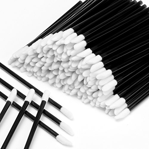 600PCS Disposable Lipstick Applicators Wands Makeup Applicators Brushes Lipgloss Applicators Tester Wands ECBASKET Disposable Lip Brushes Tool Kits Black