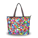 Multicolored Stained-Glass Shoulder Bags Large Handle Ladies Handbag