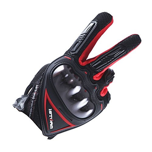 1Storm Motocross Motorcycle Gloves BMX MX Bike Bicycle Cycling Hard Reinforced Knuckle Touch Screen (Red,L)