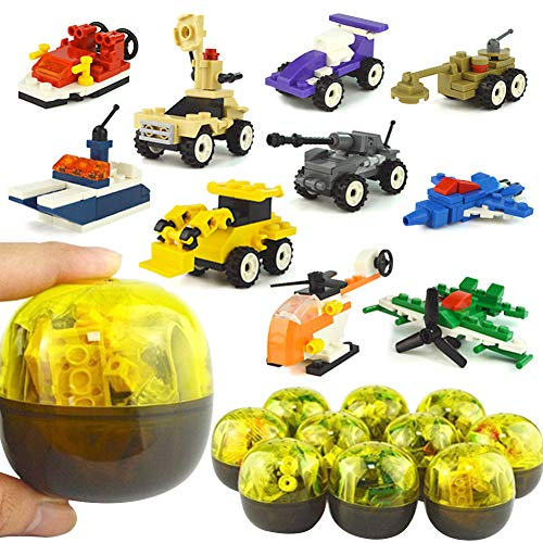 (MCpinky 10 PCS Easter Eggs with Army Equipment Twisted Egg Toy Mini Building Blocks)