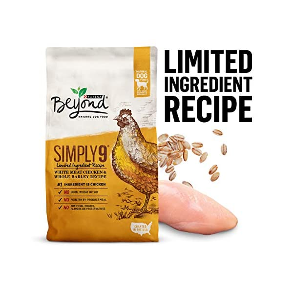 Purina Beyond Limited Ingredient, Natural Dry Dog Food, Simply 9 White Meat Chicken & Barley Recipe – 24 lb. Bag
