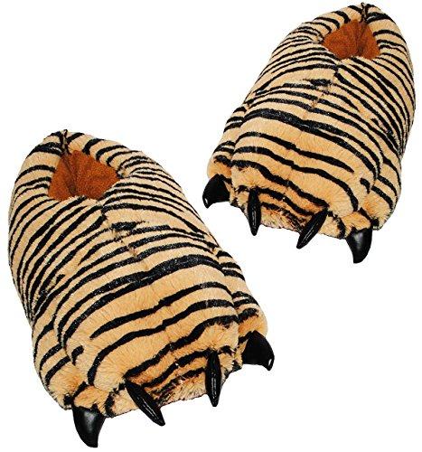 Plüschhauschschuhe / warme Hausschuhe -  Tiere - Pfote Tiger  - Größen 43 - 44 - 45 - 46 - für Kinder + Erwachsene - Plüsch Hausschuh extra warm & super weich - Tierhausschuh / Damen Herren Kind - T
