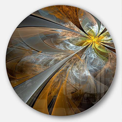 Designart Symmetrical Yellow Fractal Flower - Digital Art Disc MT7254-C38-Disc, 38x38-Disc of 38 - Fractals Flowers Art