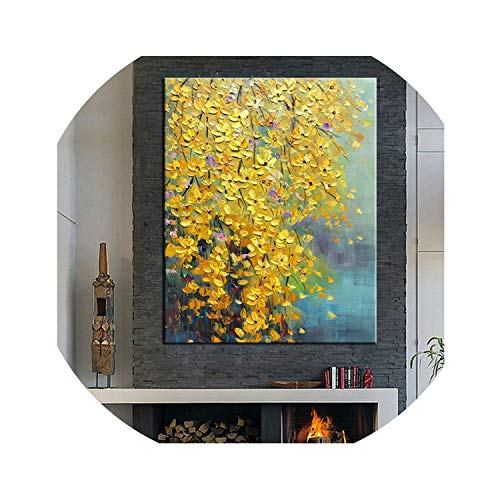 ACOMY Large 100% Hand Painted Flowers Tree Abstract Modern Oil Painting On Canvas Wall Art Wall Pictures for Live Room Home Decor,40x60cm -