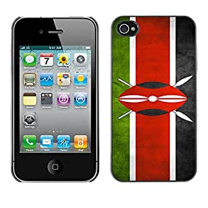 Flag Case Premium Cover - Apple iPhone 4 / 4S / Kenya Grunge Flag /