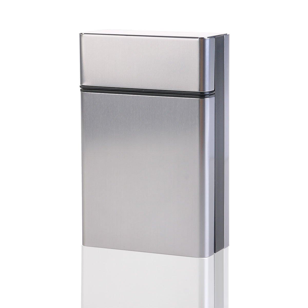 NUOLUX Étui à cigarettes en Aluminium léger Cigarette argent Boîte cigare housse (gris)