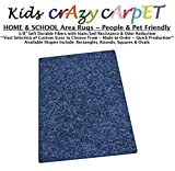 4'x6' - Super Hero Blue ~ Kids Crazy Carpet Home & School Area Rugs | People & Pet Friendly – R2X Stain Resistance & Odor Reduction